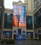 Large video curtain wall P16.66 P33.33 Full color HD transparent glass effect led display Outdoor