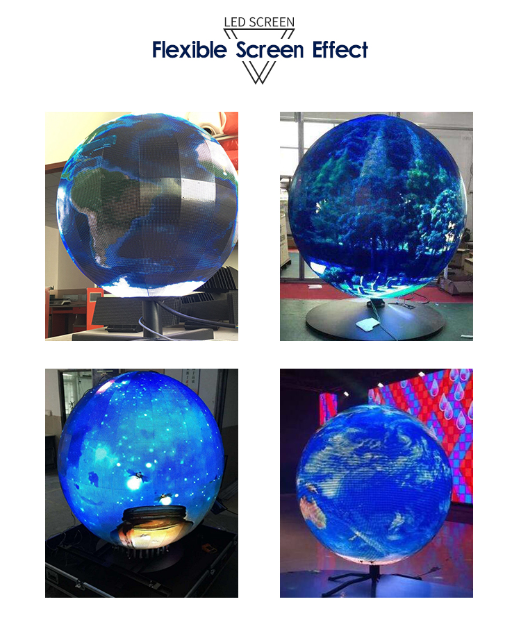 Circular Advertising LED Screen display Soft P4 Led Ball Display Sphere Arc Globe LED Screen