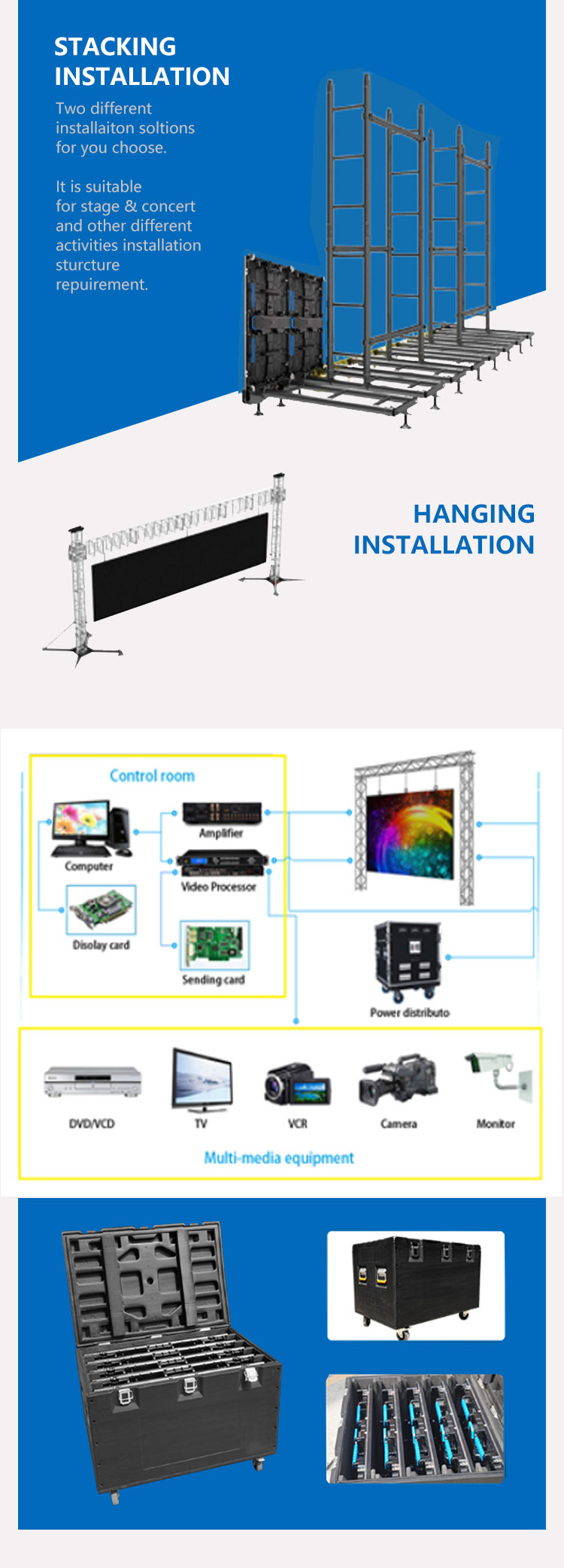 Outdoor p3.91 led rental screen die-casting aluminum cabinet 500mm*500mm