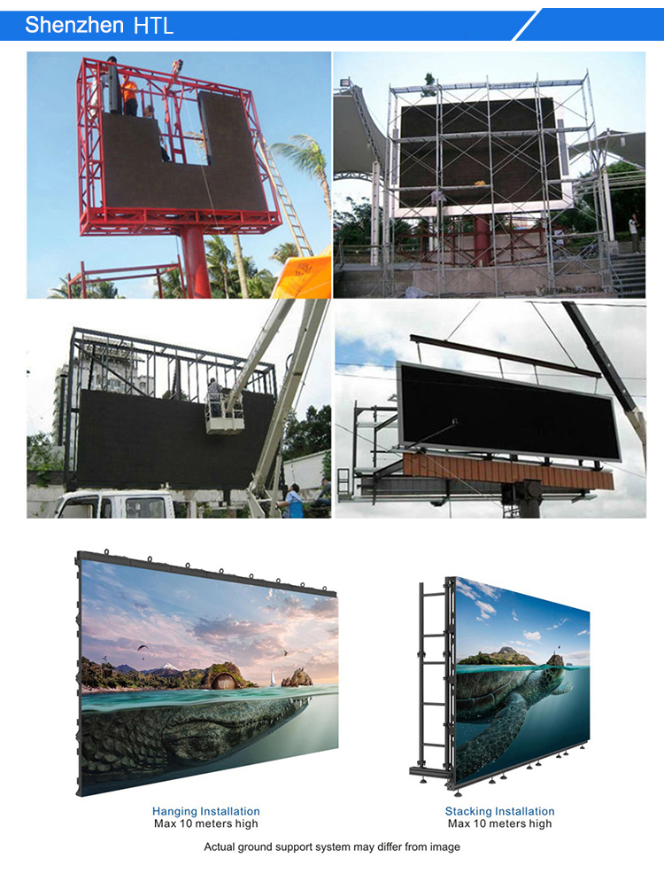 HTL New product Easy install high brightness outdoor 1ftx1ft P6.35 LED display