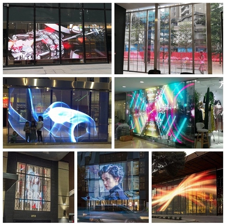 Shop window high resolution P2.9 transparent screen glass led curtain wall display
